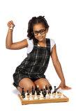 Cute girl playing chess on white Royalty Free Stock Images