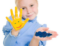 Cute girl playing with colors Stock Photography