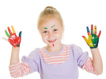 Cute girl playing with colors Stock Photo