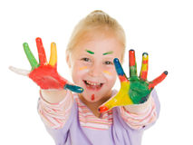 Cute girl playing with colors Royalty Free Stock Images
