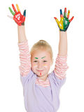 Cute girl playing with colors Royalty Free Stock Photo