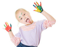 Cute girl playing with colors Stock Images