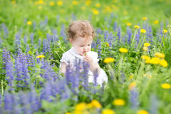 Cute girl playing with flowers in a graden Stock Photo