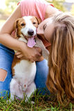 Cute girl is playing with her dog in the park. Young pet dog breeds beagle walking in park outdoors. woman carefully walks puppy, plays and trains, sits with pet royalty free stock photo