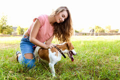 Cute girl is playing with her dog in the park. Young pet dog breeds beagle walking in park outdoors. woman carefully walks puppy, plays and trains, sits with pet stock photo
