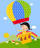 Cute girl Playing with a Hot Air Balloon. Illustration Royalty Free Stock Image