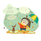 Cute girl playing in rain with umbrella Stock Photography