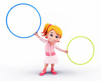 Cute girl with playing rings Royalty Free Stock Photos