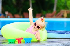 Cute girl playing in swimming pool at the beach Royalty Free Stock Photo