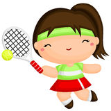 Cute Girl Playing Tennis Stock Photography