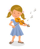 Cute girl playing the violin. Isolated character girl with a violin on a white background. Stock Photos