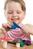 Cute Girl Playing With Color Play Plasticine Royalty Free Stock Image