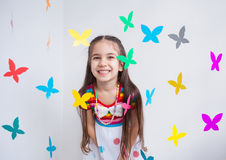 A cute girl in a playroom Royalty Free Stock Photos
