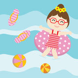 Cute girl plays with swim ring on  the water vector cartoon, Summer postcard, wallpaper, and greeting card. T-shirt design for kids Royalty Free Stock Photography