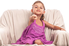 Cute girl pointing to camera Royalty Free Stock Images