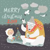 Cute girl and polar bear sitting on ice floes royalty free illustration