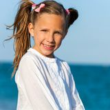 Cute girl with ponytails. Royalty Free Stock Photography