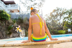 Cute girl at the pool Stock Photo