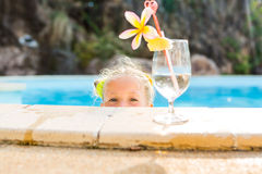 Cute girl at the pool Royalty Free Stock Images