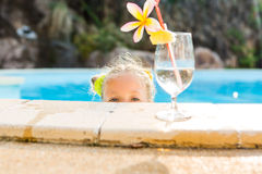 Cute girl at the pool Stock Image