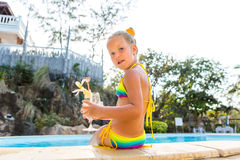 Cute girl at the pool Royalty Free Stock Image