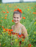 Cute girl in poppy field Stock Photos