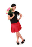 Cute girl pose with flowers, full length over white Royalty Free Stock Photography
