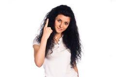 Cute girl posing on white Stock Photo