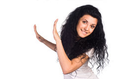 Cute girl posing on white Royalty Free Stock Photography