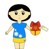 Cute Girl with Present. Cute cartoon girl holding a present Royalty Free Stock Image