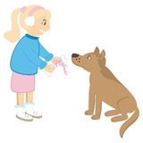 Cute girl present bone to the dog Stock Images