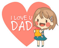 cute girl present I love you dad card vector illustration. Royalty Free Stock Image