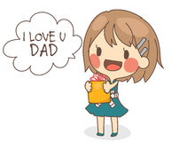 Cute girl present I love you dad card vector illustration. Cute girl hold a present with text I love you dad in father's day.card vector illustration in white Stock Images