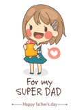 cute girl present I love you dad card vector illustration. stock illustration