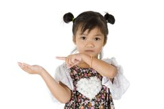 Cute girl presenting something Stock Photos