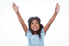 Cute girl pretending to be pilot. Cute girl with arms outstretched pretending to be pilot Stock Images