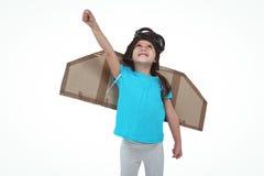 Cute girl pretending to be pilot Royalty Free Stock Image