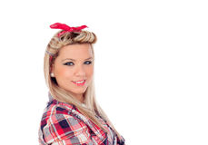 Cute girl with pretty smile in pinup style Royalty Free Stock Photography
