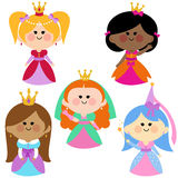 Cute girl princesses set. A happy multi ethnic group of children royal fairy princesses vector set Royalty Free Stock Photos