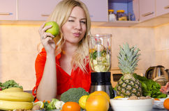 Cute girl promoting healthy lifestyle Stock Photo