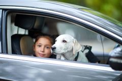 A cute girl with puppy in the black car. Pet concept. Beautiful girl sitting with cute white doggie in the black car. A little girl with puppy on the nature Royalty Free Stock Photography