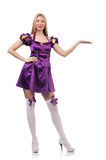 The cute girl in purple masquerade dres Royalty Free Stock Images