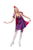 Cute girl in purple masquerade dress and crown. The cute girl in purple masquerade dress and crown isolated on white Royalty Free Stock Photos
