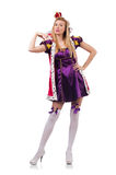 Cute girl in purple masquerade dress and crown Stock Image