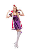 The cute girl in purple masquerade dress and crown Stock Images