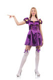 Cute girl in purple masquerade dress isolated on Royalty Free Stock Images