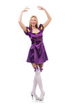 Cute girl in purple masquerade dress isolated on Stock Photo