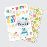 Cute girl raccoon and colorful buntings  cartoon illustration for happy birthday card Stock Images