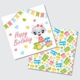 Cute girl raccoon, garland and box gifts vector cartoon illustration for happy birthday card Stock Photos