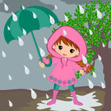 Cute kids Girl on rainy day Royalty Free Stock Images